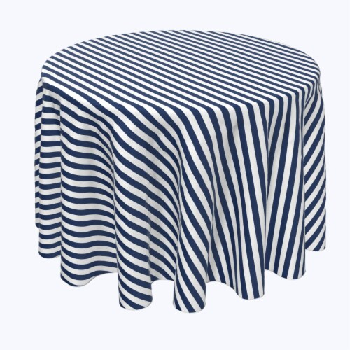 "Round Tablecloth, 100% Polyester, 60"" Round, Small Stripes, Navy Perspective: front"