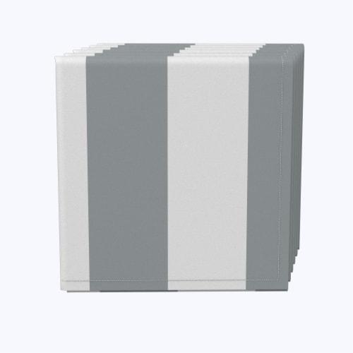 "Napkin Set, 100% Polyester, Set of 12, 18x18"", 3"" Cabana Stripe, Gray & White Perspective: front"