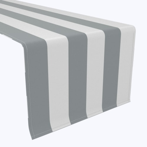 """Table Runner, 100% Polyester, 14x108"""", 3"""" Cabana Stripe, Gray & White Perspective: front"""