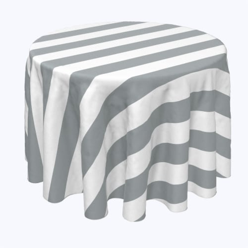 "Round Tablecloth, 100% Polyester, 60"" Round, 3"" Cabana Stripe, Gray & White Perspective: front"