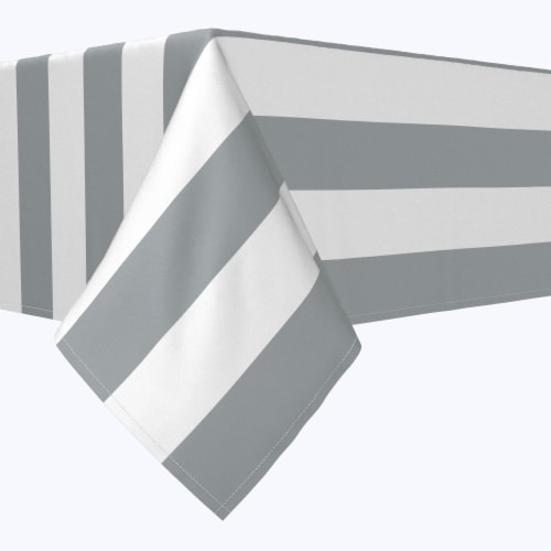 "Rectangular Tablecloth, 100% Polyester, 60x120"", 3"" Cabana Stripe, Gray & White Perspective: front"