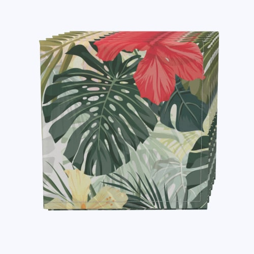 "Napkin Set, 100% Polyester, Set of 12, 18x18"", Hibiscus Garden Perspective: front"