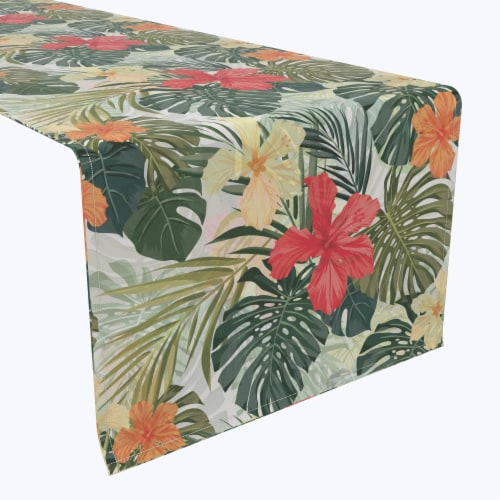 "Table Runner, 100% Polyester, 14x108"", Hibiscus Garden Perspective: front"