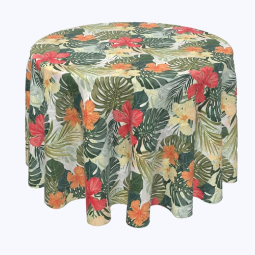 "Round Tablecloth, 100% Polyester, 60"" Round, Hibiscus Garden Perspective: front"