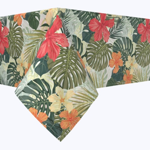 """Rectangular Tablecloth, 100% Polyester, 60x104"""", Hibiscus Garden Perspective: front"""