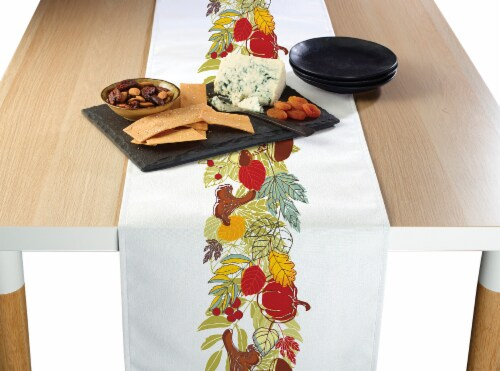 "Table Runner, 100% Polyester, 12x72"", Artistic Autumn Garland Perspective: front"