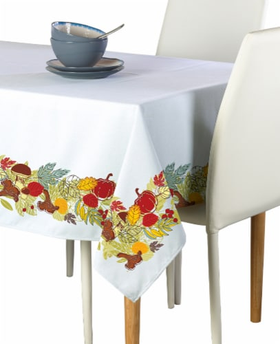"Rectangular Tablecloth, 100% Polyester, 60x84"", Artistic Autumn Garland Perspective: front"