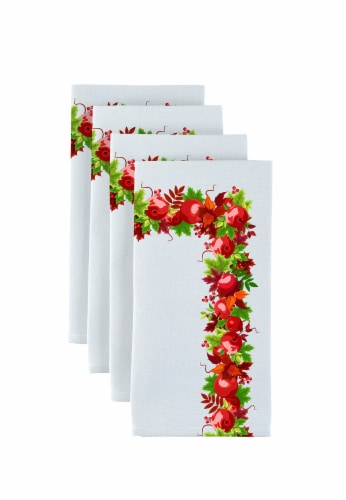 "Napkin Set, 100% Polyester, Set of 12, 18x18"", Autumn Apple Harvest Garland Perspective: front"