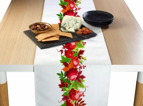 "Table Runner, 100% Polyester, 12x72"", Autumn Apple Harvest Garland Perspective: front"