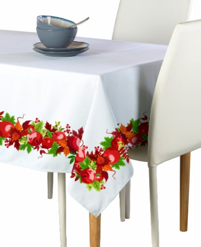 "Rectangular Tablecloth, 100% Polyester, 60x84"", Autumn Apple Harvest Garland Perspective: front"