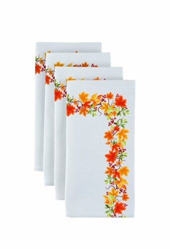 "Napkin Set, 100% Polyester, Set of 12, 18x18"", Autumn Leaves Border Perspective: front"
