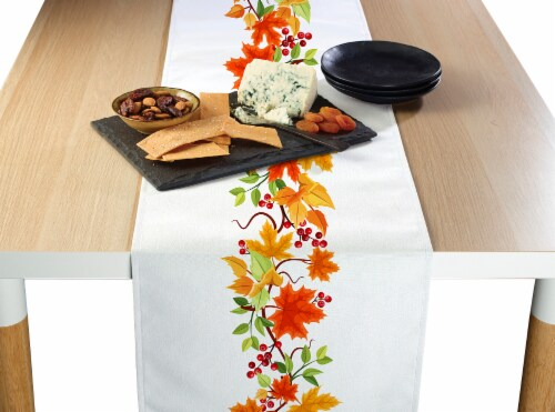 "Table Runner, 100% Polyester, 14x108"", Autumn Leaves Border Perspective: front"