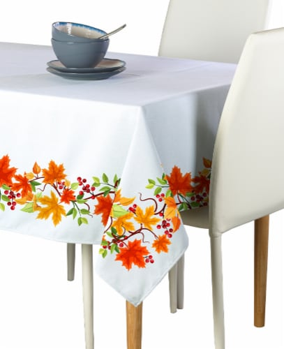 "Rectangular Tablecloth, 100% Polyester, 60x104"", Autumn Leaves Border Perspective: front"
