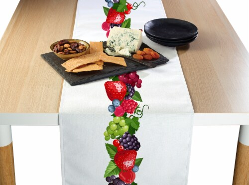 """Table Runner, 100% Polyester, 14x108"""", Bountiful Berries Garland Perspective: front"""