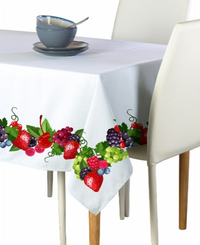 "Rectangular Tablecloth, 100% Polyester, 60x84"", Bountiful Berries Garland Perspective: front"