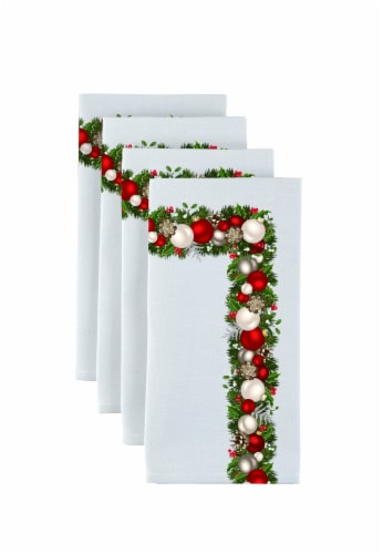 "Napkin Set, 100% Polyester, Set of 12, 18x18"", Christmas Garland Border Perspective: front"