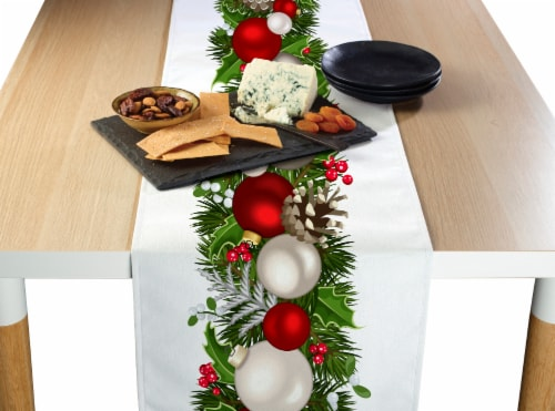 "Table Runner, 100% Polyester, 12x72"", Christmas Garland Border Perspective: front"