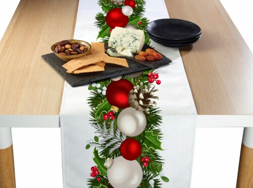 "Table Runner, 100% Polyester, 14x108"", Christmas Garland Border Perspective: front"