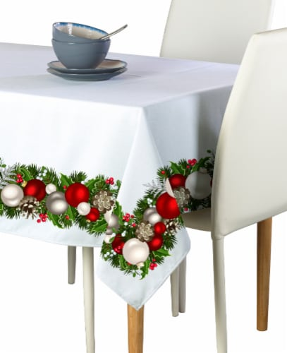 "Rectangular Tablecloth, 100% Polyester, 60x104"", Christmas Garland Border Perspective: front"