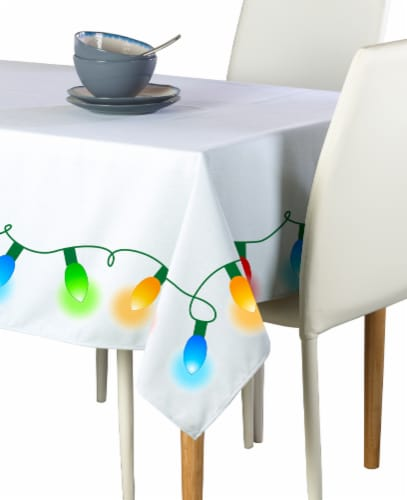 "Rectangular Tablecloth, 100% Polyester, 60x104"", Christmas Lights Garland Perspective: front"