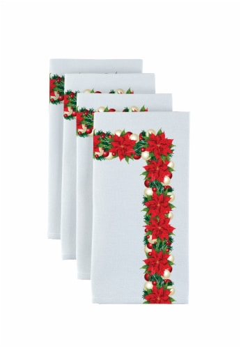 """Napkin Set, 100% Polyester, Set of 12, 18x18"""", Christmas Poinsettia Garland Perspective: front"""