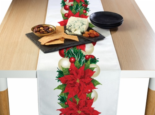 "Table Runner, 100% Polyester, 14x108"", Christmas Poinsettia Garland Perspective: front"