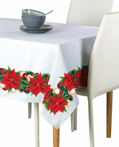 "Rectangular Tablecloth, 100% Polyester, 60x84"", Christmas Poinsettia Garland Perspective: front"