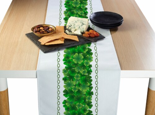 "Table Runner, 100% Polyester, 12x72"", Clover Arches Garland Perspective: front"