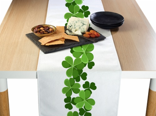 "Table Runner, 100% Polyester, 12x72"", Clover Garland Perspective: front"
