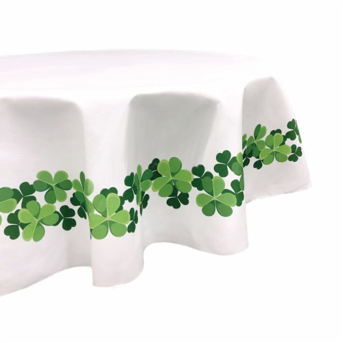 """Round Tablecloth, 100% Polyester, 60"""" Round, Clover Garland Perspective: front"""