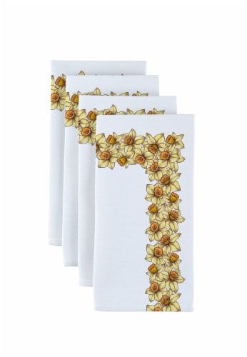 """Napkin Set, 100% Polyester, Set of 12, 18x18"""", Daffodil Garland Perspective: front"""