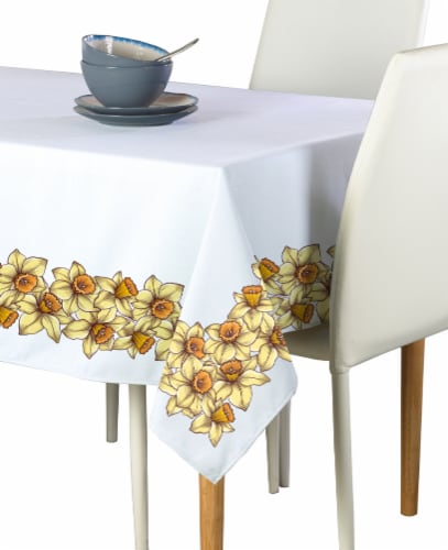 "Rectangular Tablecloth, 100% Polyester, 60x104"", Daffodil Garland Perspective: front"