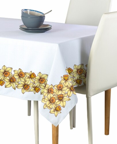 "Rectangular Tablecloth, 100% Polyester, 60x120"", Daffodil Garland Perspective: front"
