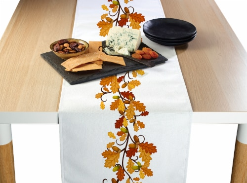 "Table Runner, 100% Polyester, 14x108"", Fall Foliage Garland Perspective: front"