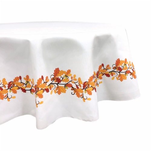 """Round Tablecloth, 100% Polyester, 60"""" Round, Fall Foliage Garland Perspective: front"""
