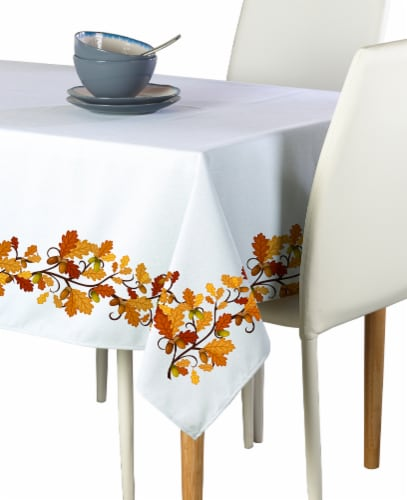 """Rectangular Tablecloth, 100% Polyester, 60x120"""", Fall Foliage Garland Perspective: front"""