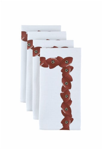 "Napkin Set, 100% Polyester, Set of 12, 18x18"", Football Garland Perspective: front"