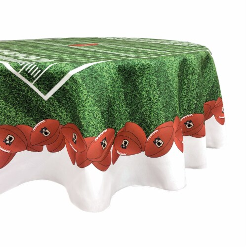 "Round Tablecloth, 100% Polyester, 60"" Round, Football Garland Perspective: front"