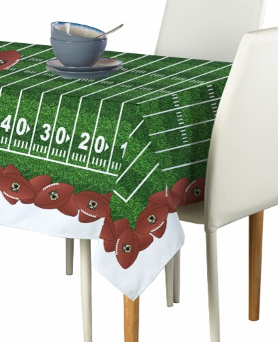 "Rectangular Tablecloth, 100% Polyester, 60x104"", Football Garland Perspective: front"