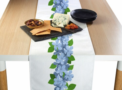"Table Runner, 100% Polyester, 12x72"", Forget Me Not Garland Perspective: front"