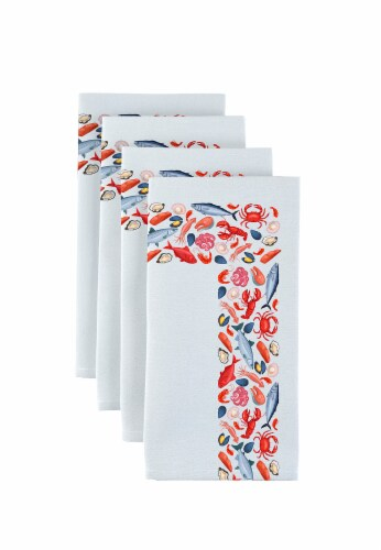 """Napkin Set, 100% Polyester, Set of 12, 18x18"""", Fresh Seafood Garland Perspective: front"""