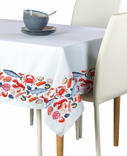 """Square Tablecloth, 100% Polyester, 60x60"""", Fresh Seafood Garland Perspective: front"""