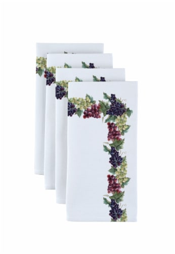 "Napkin Set, 100% Polyester, Set of 12, 18x18"", Grape Vine Garland Perspective: front"