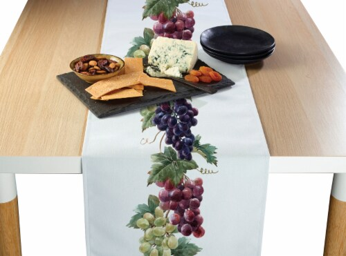 "Table Runner, 100% Polyester, 14x108"", Grape Vine Garland Perspective: front"