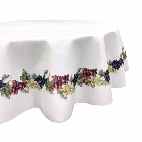 """Round Tablecloth, 100% Polyester, 60"""" Round, Grape Vine Garland Perspective: front"""