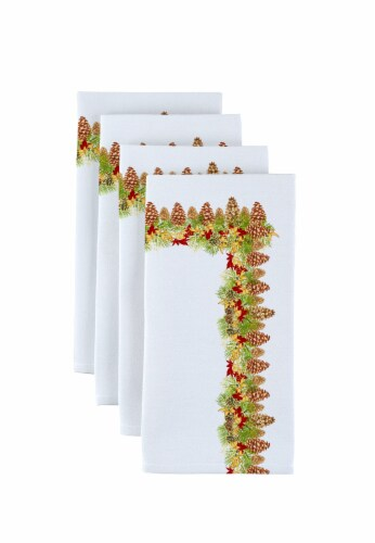 "Napkin Set, 100% Polyester, Set of 12, 18x18"", Hanging Pinecones Garland Perspective: front"