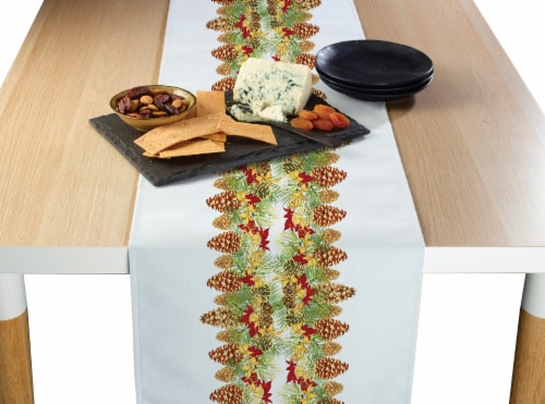 "Table Runner, 100% Polyester, 14x108"", Hanging Pinecones Garland Perspective: front"