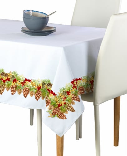 """Rectangular Tablecloth, 100% Polyester, 60x104"""", Hanging Pinecones Garland Perspective: front"""