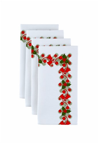 "Napkin Set, 100% Polyester, Set of 12, 18x18"", Holly and Bells Garland Perspective: front"
