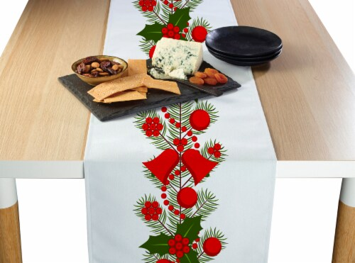 "Table Runner, 100% Polyester, 14x108"", Holly and Bells Garland Perspective: front"